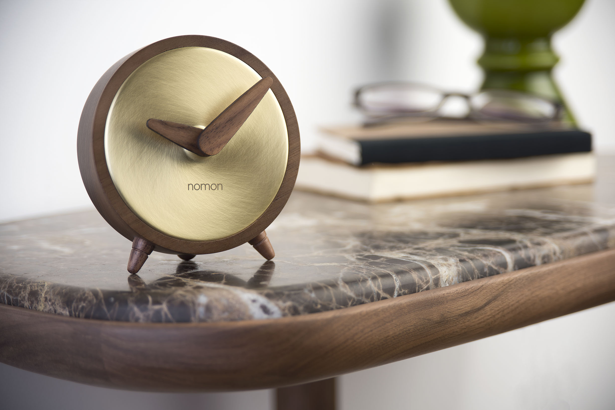 Gold Brass Wallnut Design Clock