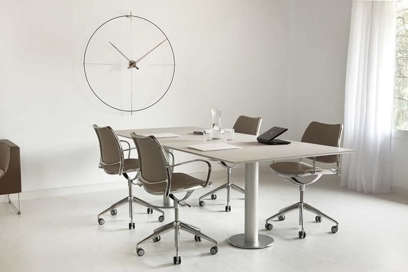 Design Fiberglass Wallnut Metal Clock