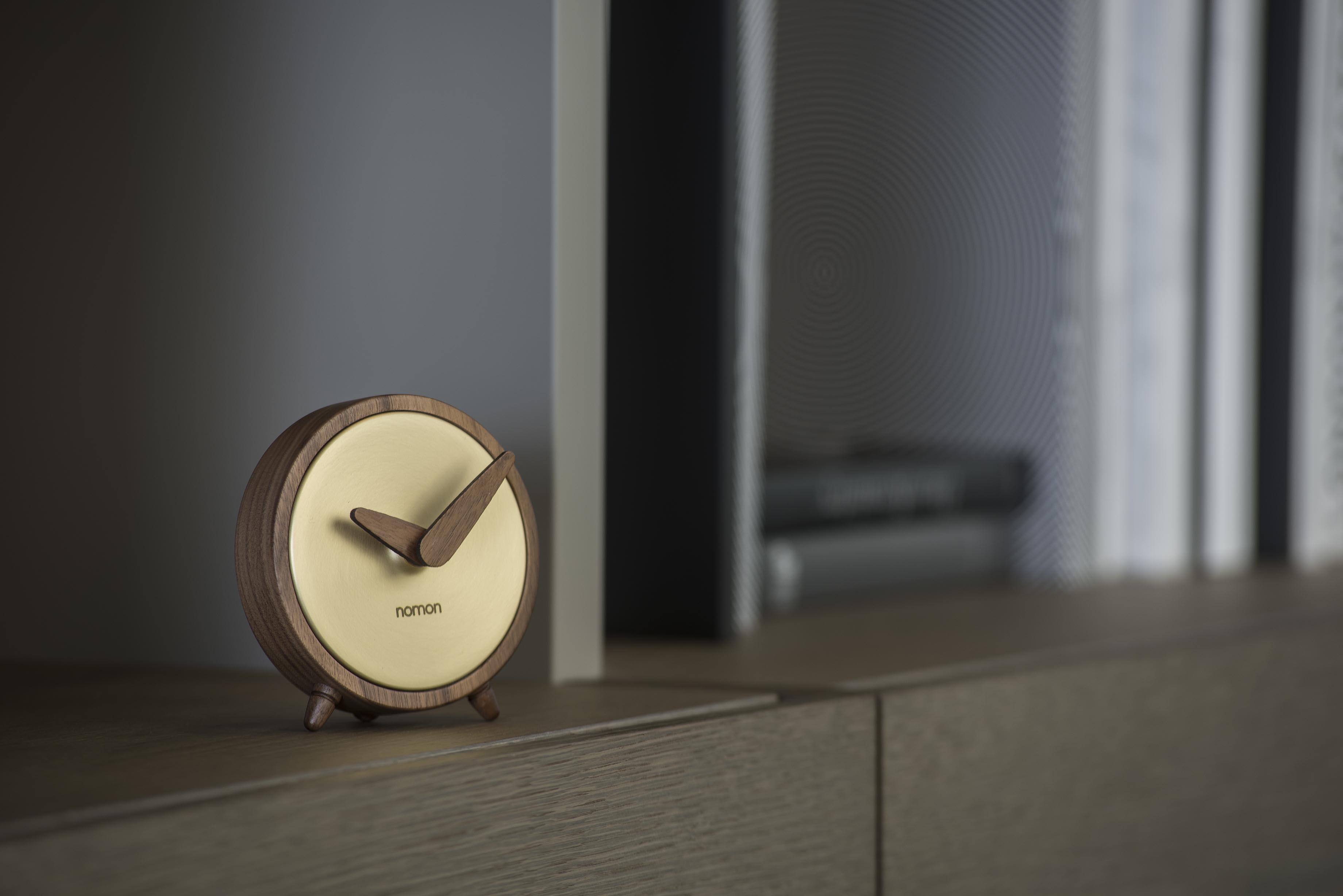 Gold Brass Wallnut Design Clock