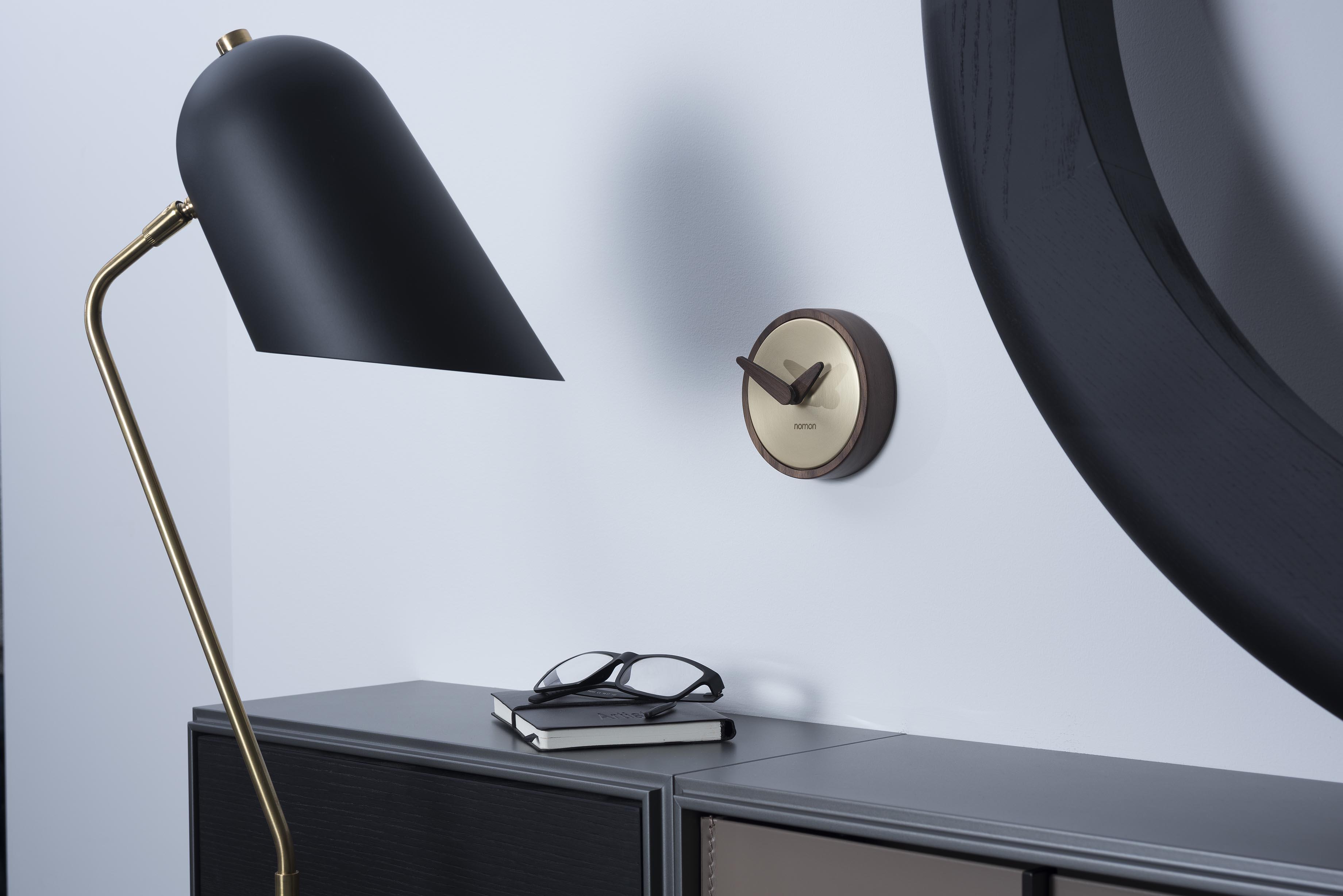 Design Brass Wallnut Small Wall Clock