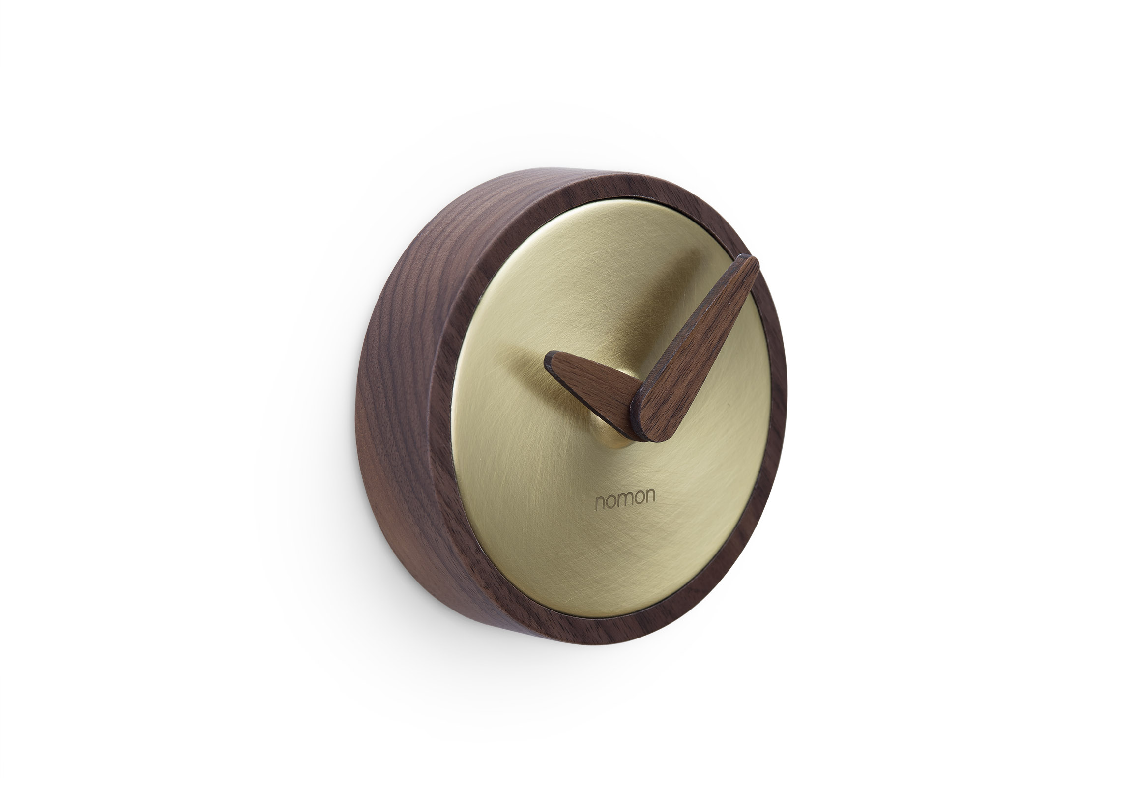 Design Brass Wallnut Small Wall Clock