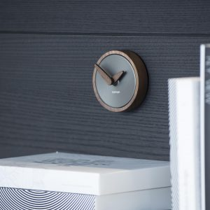 Design Graphite Wallnut Small Wall Clock