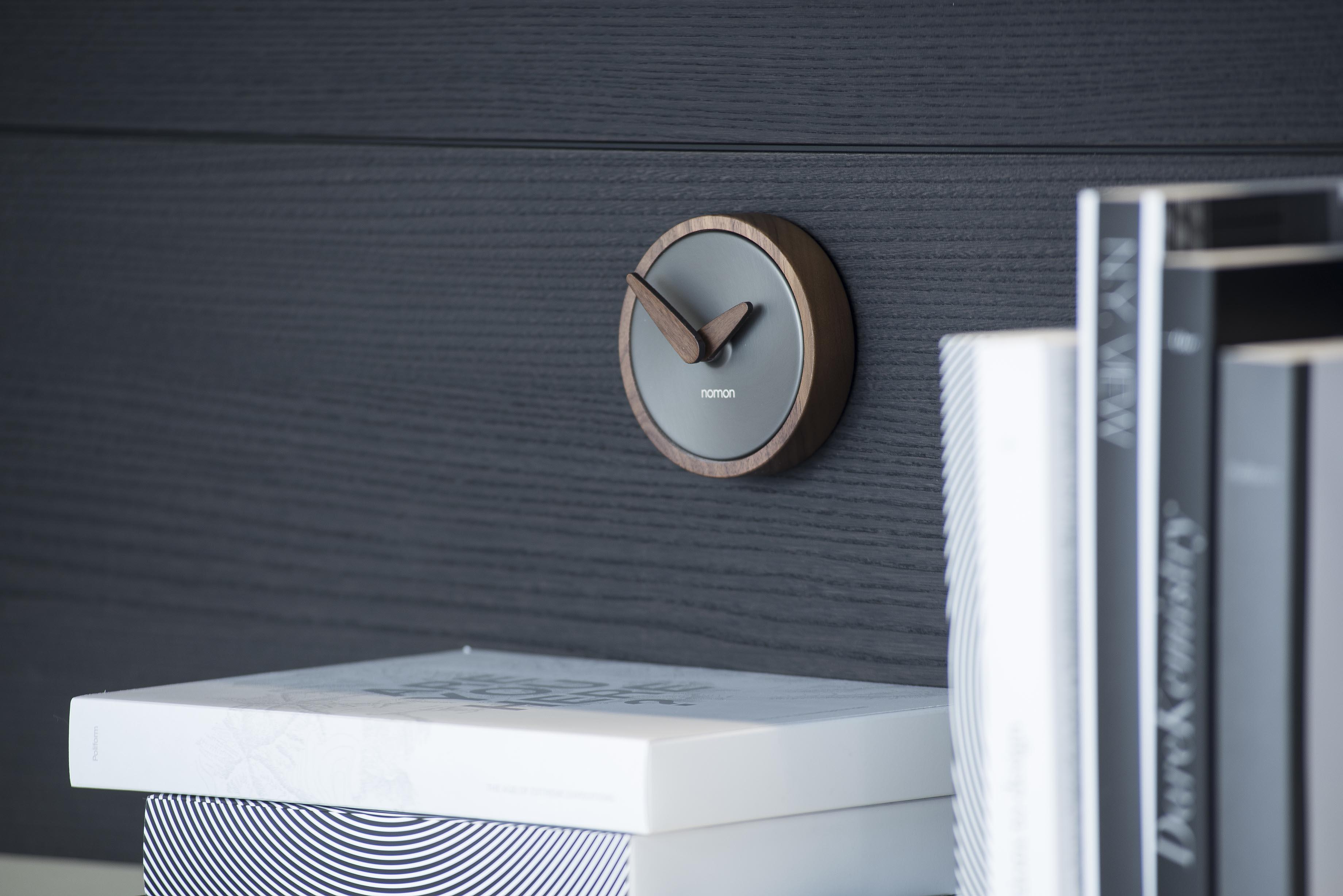 Design Graphite Wallnut Small Wall Clock