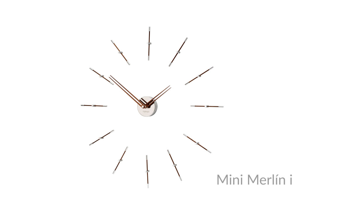 Design Wallnut Inox Wall Clock