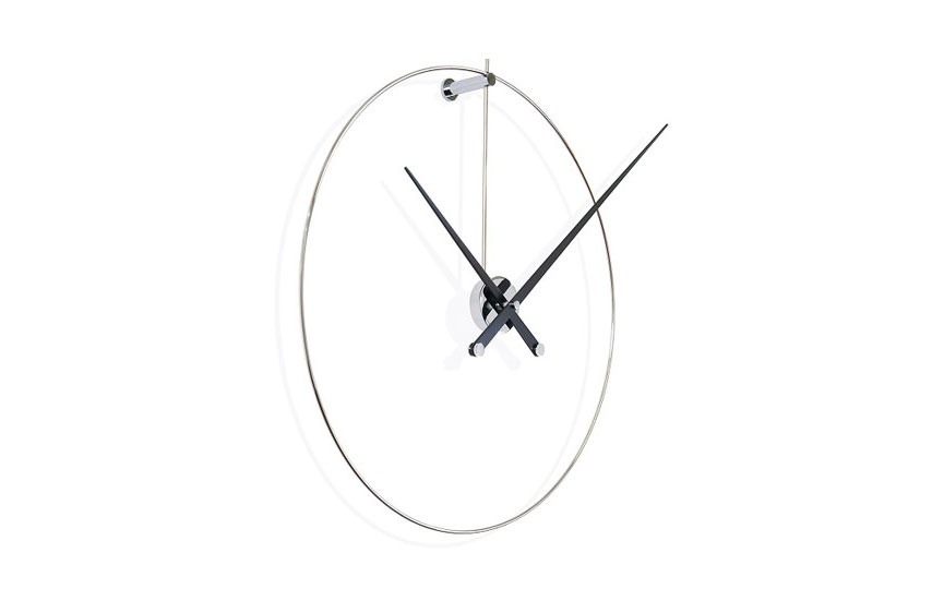 Design Wall Clock Inox Laquered Wood