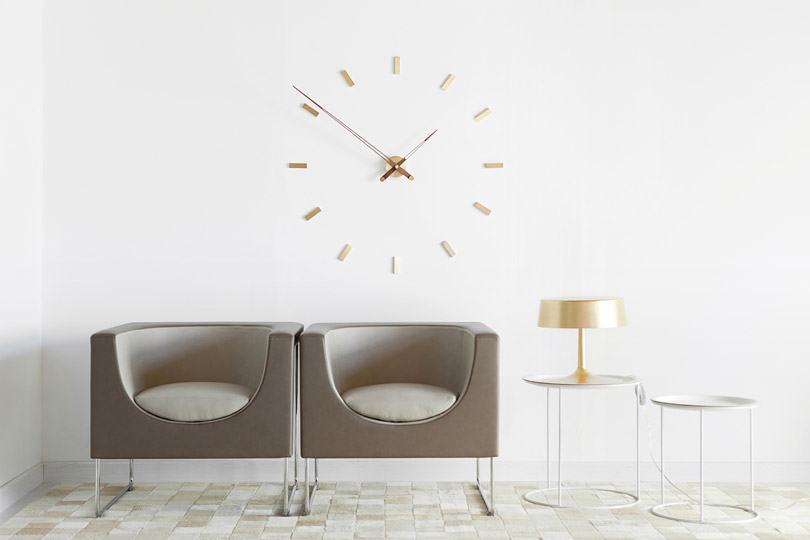 Design Brass Wallnut Wall Clock